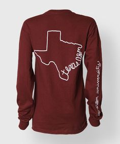 """This longsleeve maroon shirt has the outline of Texas on the back and text along the coast that reads """"Texas A&M"""". The back of the right sleeve reads """"Texas A&M University"""". The front has a white block ATM. Aggie Game, Aggie Football, Maroon Shirts, Spirit Wear, Texas A&m, Making Ideas, Shirt Designs, Cute Outfits, My Style"""