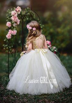 Giselle Flower Girl Dress in Champagne / Ivory LaurenHeleneCouture Flower Girl Gown, Princess Flower Girl Dresses, Flower Girls, Baby Christening Dress, Baby Dress, Gowns For Girls, Little Girl Dresses, Girls Dresses, Tulle Gown