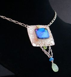 Dichroic Glass and Fine Silver Amulet by AlteredElementsJewel, $195.00
