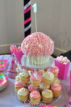 Party Cakes & Treats 1st Birthday Cupcake Tower by thecupcakequeens, via Flickr