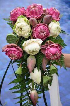 Pink Lotus Flower Wedding Bouquet Bridal