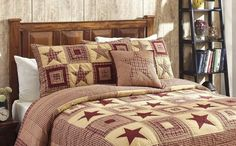 Colonial Star Burgundy And Tan Queen Quilt Set - Lange General Store - 2
