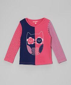 Look at this #zulilyfind! Pink & Navy Two-Tone Owl Tee - Infant #zulilyfinds