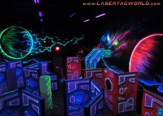 Futuristic Laser Tag Lands in Bowling Center Mma Gym, Spy Games, Environment Concept, I Am Game, Vaporwave, Deco, Thesis, Bowling, Futuristic