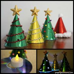 Glowing Christmas Tree Craft for Kids - Using Party Hats and old CDs. An easy and FUN group craft activity.