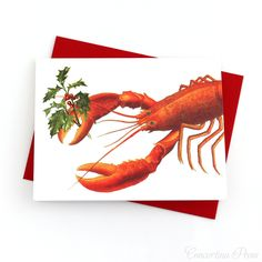 Lobster Joy Christmas Cards - Set of 8 funny nautical Christmas cards by Concertina Press