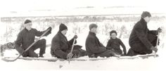 """Boys at Play, c. 1910 - Five boys pretend to be """", using a dock in the snow as a canoe and their hockey sticks as canoe paddles. Canoe Paddles, Hockey Sticks, Snow, Play, History, Gallery, Boys, Vintage, Collection"""