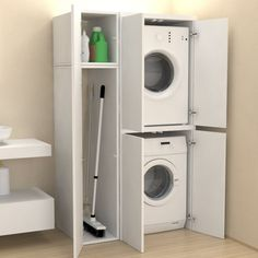 Veca srl produces and sells online Column cover + accessory compartment with doors - Bathroom furniture - Laundry, made of wood, to cover household appliances Tiny Laundry Rooms, Laundry Room Layouts, Laundry Room Design, Laundry In Bathroom, Small Bathroom, Mud Rooms, Laundry Cupboard, Laundry Closet, Laundry Room Organization