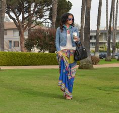 ::valley:: Swell Valley Printed Maxi Skirt, Denim Jacket, Noble House Designs