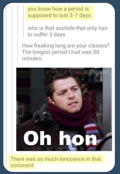 Lol haha funny pics / pictures / Supernatural Humor / Castiel / Season 1 It's sad that I know exactly what they mean. I don't even watch this show. Ft Tumblr, Tumblr Posts, Tumblr Funny, Sam Winchester, Supernatural Fandom, Supernatural Tattoo, Supernatural Imagines, Supernatural Bloopers, Supernatural Wallpaper