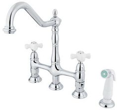 Elements of Design Heritage Deck Mount Double Handle Centerset Bridge Kitchen Faucet with Porcelain Cross Handle on shopstyle.com