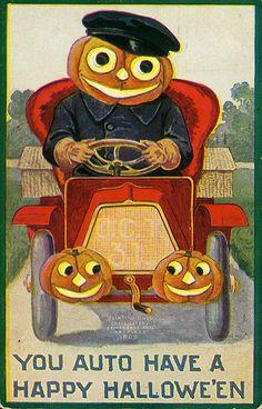 """Vintage Halloween Postcard ~ """"You Auto Have a Happy Hallowe'en"""" ©1908"""