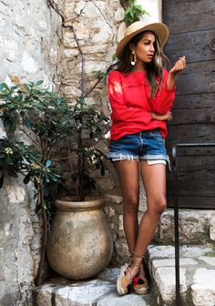 Shorts and red shirt