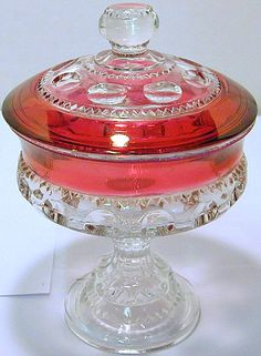 Kings crown glass ruby flashed compote