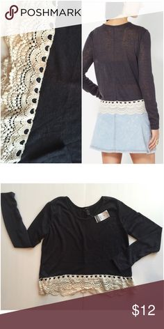 NWT! Charcoal Grey Top with Crotchet and Lace NWT! Charcoal Grey Top with Crotchet and Lace Tops Blouses