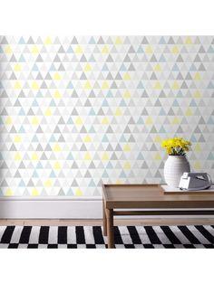 Papier peint Tarek bleu/jaune, scandinave. Graham & Brown #papierpeint #lepapierpeint