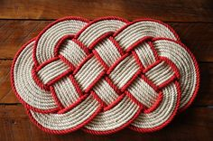 Etsy - Handmade rope rug using 100% 1/2 inch diameter off white cotton rope and 1/2 inch red cotton rope