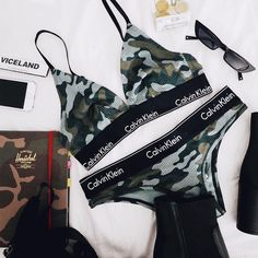 Calvin Klein Modern Cotton Camouflage Triangle Bra | Urban Outfitters | Lingerie & Swimwear | Bras & Bralettes | Triangle Bras via @rosapelsblog #UOEurope #UrbanOutfittersEU #UOonYou