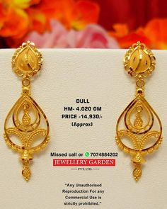 Eyaring Gold Jhumka Earrings, Gold Bridal Earrings, Jewelry Design Earrings, Gold Earrings Designs, Gold Jewellery Design, Real Gold Jewelry, Gold Jewelry Simple, Golden Jewelry, Gold Ring Designs