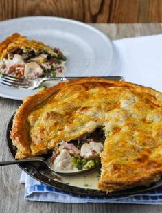 Easy Chicken Pie on the Good Food Channel website Easy Pie Recipes, Easy Chicken Recipes, Fall Recipes, Easy Chicken Pot Pie, Cheesy Chicken, Good Food Channel, Good Pie, Spinach And Feta, Seasonal Food