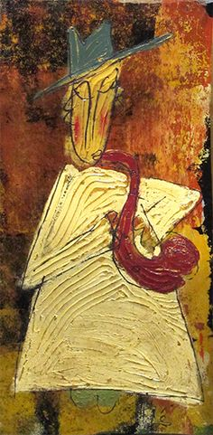 """""""Monk w/ Saxophone"""" - Tres Taylor. Saw this exhibit at Arts Company in Nashville. He paints on the back of tar paper used to roof houses. So amazing!"""