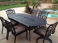 Cast Iron Patio Furniture Perfect Dining Set Ken Design Cushions