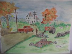On The Farm Watercolor Painting #Art #Sale