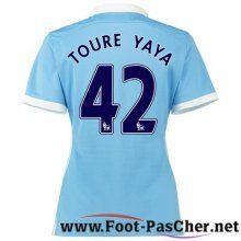 Maillot De Football Manchester City Bleu Femme Yaya Toure 42 Domicile 15 2016 2017 Pas Chere