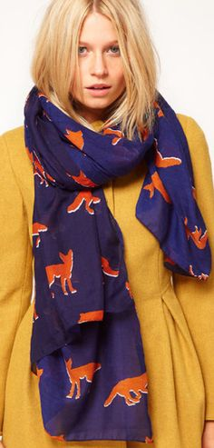fox print scarf
