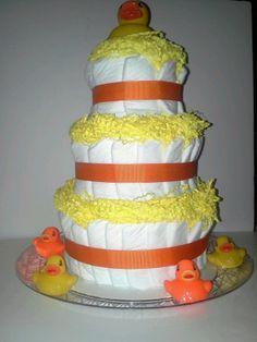 Orange & yellow duck 3-tier shower diaper cake centerpiece or baby sprinkle gift