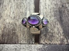 Vintage Taxco sterling silver amethyst poison ring Mexican Art Nouveau jewelry February birthstone @ romaarellano.com