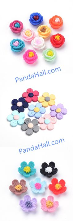 14 mm approx 10 x Mixed Polymer Flower Cabochons