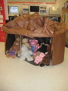 "during unit on bears {kindergarten} have your students bring in their teddy bears to ""hibernate"" in the cave all week. precious."