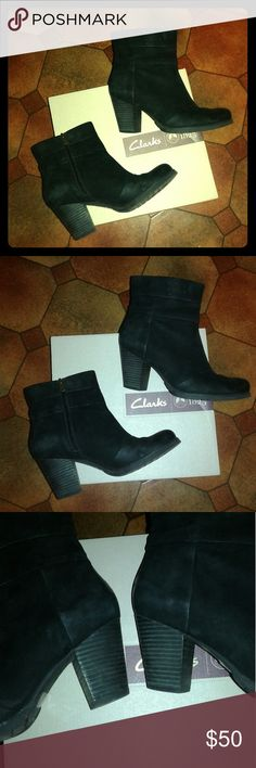 Clarks Black Suede Booties (8.5) Good Condition!  Very Comfortable Clarks Shoes Ankle Boots & Booties