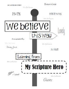 Scripture Hero Book   (helping youth with an in-depth study of people in the scriptures)  This is FANTASTIC!