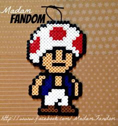 Toad Mario large ornament perler beads by Madam Fandom http://www.facebook.com/MadamFandom