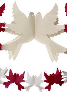 Guirlande colombes ivoire/bordeaux, En papier 2.2m