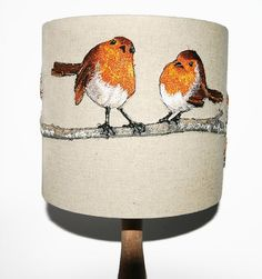 Robin lampshade, embroidered lampshade, linen lampshade, British bird, table lamp, drum lampshade, 20 cm statement lampshade, MADE TO ORDER