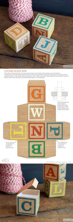 Alphabet Block Boxes - free template from The Elli blog