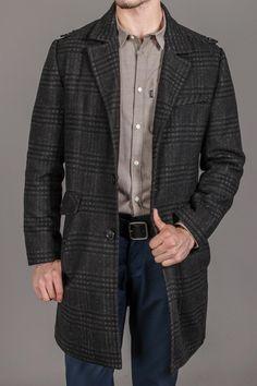 Kenneth Cole Melton Plaid Notch Collar Coat