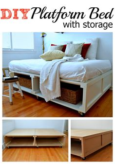 DIY platform bed with tons of storage and wheels for easy moving. chatfieldcourt.com