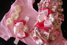 NEWBORN baby girl take me home outfit onesie baby pink pale pink flower ruffled bloomers bows rhinestones headband on Etsy, $35.00