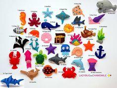 MARE e creature dell'oceano feltro magneti  di LADYBUGonCHAMOMILE