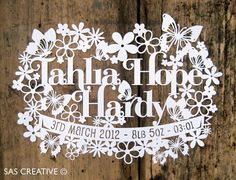 Personalised Papercut Baby Girls Birth Announcement by SASCreative, £25.00
