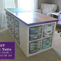 DIY Craft Table Craft table made of Ikea Expedits, an un-bored slab door, and Sterilite clip boxes. Lots of storage and room to work. Sewing Room Design, Sewing Room Storage, Craft Room Design, Sewing Room Organization, Craft Room Storage, Sewing Rooms, Sewing Studio, Diy Design, Craft Space