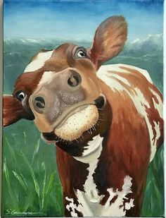 Items similar to Holy Cow! on Etsy Items similar to Holy Cow! on Etsy Kühe Funny Ayrshire cow painted in oil I used a palette […] painting canvas Animal Paintings, Animal Drawings, Art Drawings, Cow Paintings On Canvas, Painting Canvas, Cow Pictures, Canvas Pictures, Farm Art, Cute Cows