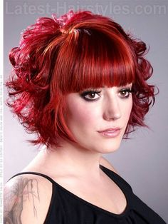 The Short Curly Bob Hairstyles with Bangs for Thin Face: Short Red ...