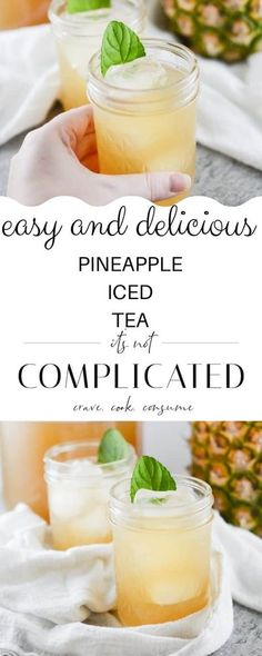 A refreshing drink, my Pineapple Iced Tea is easy to prepare, and an ideal drink for a warm day or when you're after a tasty non-alcoholic beverage! Make a batch today!#pineappleicedtea #pineappledrinks #pineapplerecipes #icedtea #easyicedtea #itsnotcomplicatedrecipes #cravecookconsume Tea Recipes, Kitchen Recipes, Smoothie Recipes, Sweet Recipes, Drink Recipes, Smoothies, Dinner Recipes, Refreshing Drinks, Fun Drinks