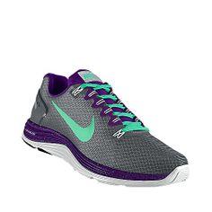 Teal and Purple Nike Running Shoe #nike