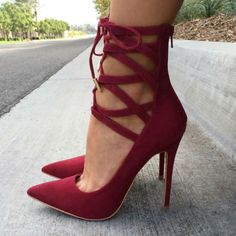 EDITOR'S NOTE Lace Up Pointed Toe Heels Complete your fall collection with those super trendy, hot heels. #shoelover